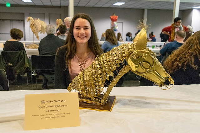 "Overall winner Mary Garrison of South Carroll High School made her ""Golden Mare"" sculpture out of jewelry, drawer pulls, cardboard and other materials."
