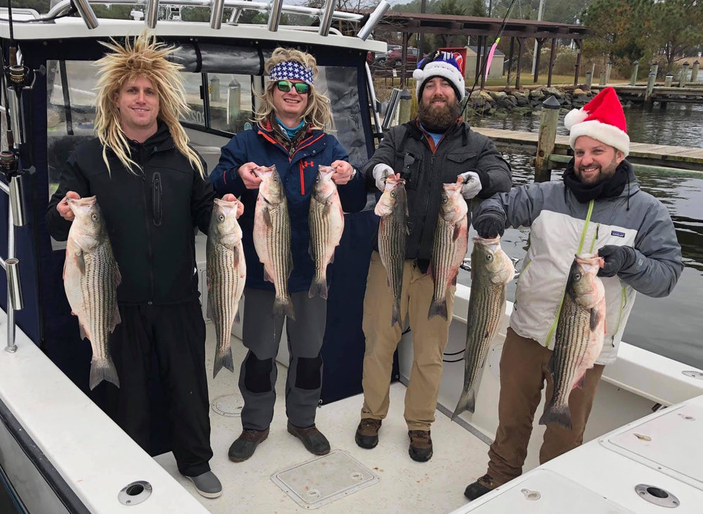Last Friday, (from left)Kris Jones, Kevin Thomas, Derek Arnold, and Josh Sweat enjoyeda successful end to the 2018 striper season with Capt. Greg Shute, fishing out of Point Lookout. (Photo courtesy of Kevin Thomas)