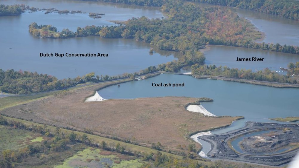 A coal ash pond at Dominion's Chesterfield Power Station and the neighboring Dutch Gap Conservation Area and James River. Photo: James River Association