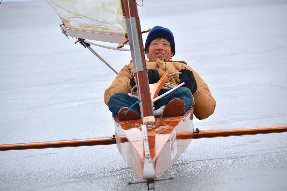 Mike Keene, in sailing position. Photo by Kathy Bosin