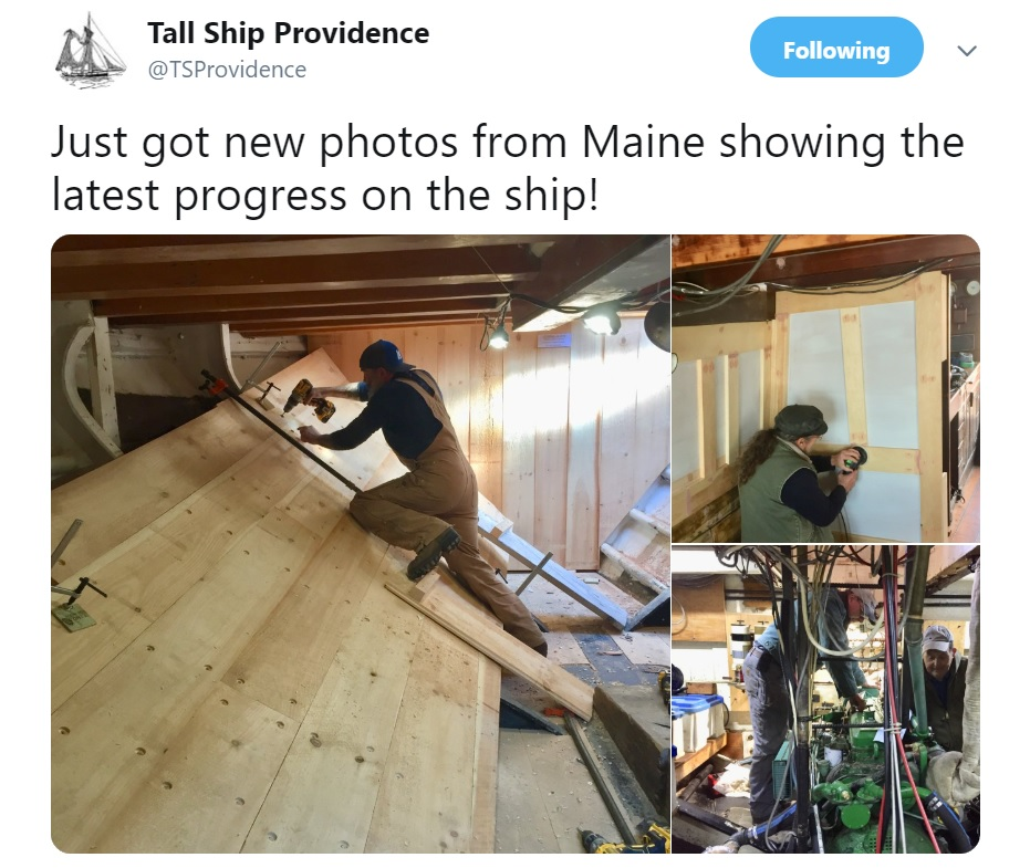 The Tall Ship Providence Foundation has been documenting the ship's progress on social media.