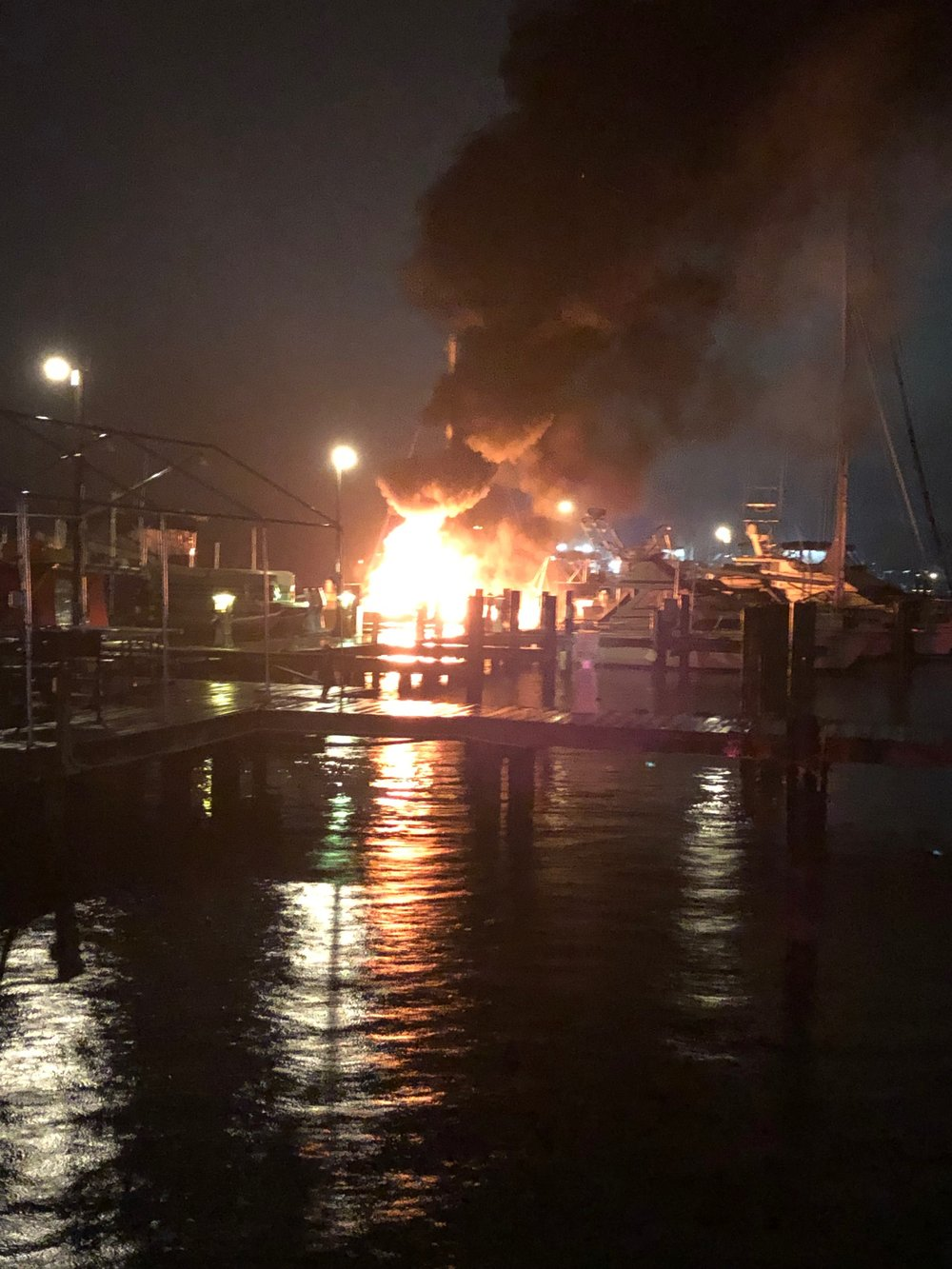 A bystander took this photo of the boat consumed by fire. Photo courtesy of the Anne Arundel County Fire Department.