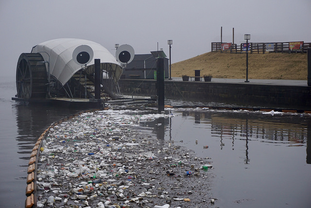 "Baltimore's ""Mr. Trash Wheel"" collects foam containers and other litter. Photo: Healthy Harbor Initiative"