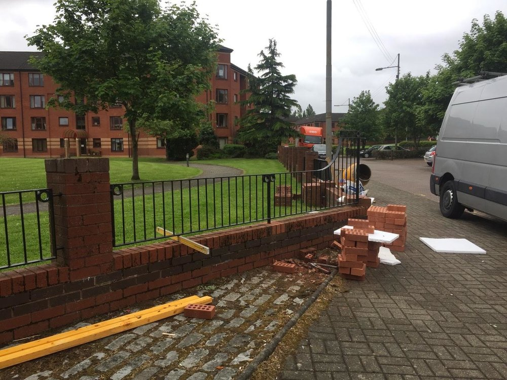 Brick work and fence repair after vehicle collision, Springburn