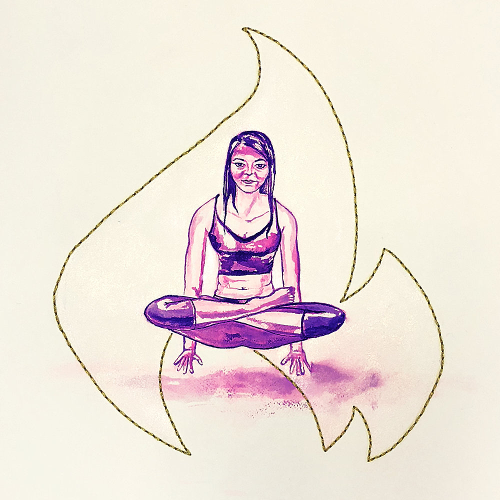 Watercolor on paper, painted with palette knives, yoga pose called floating lotus.
