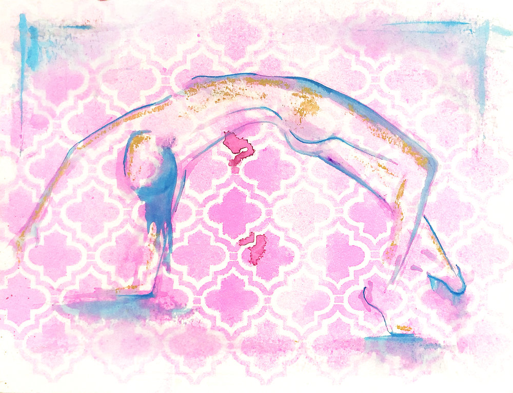 Watercolor on paper, painted with palette knives, yoga pose wild thing, or rockstar pose.