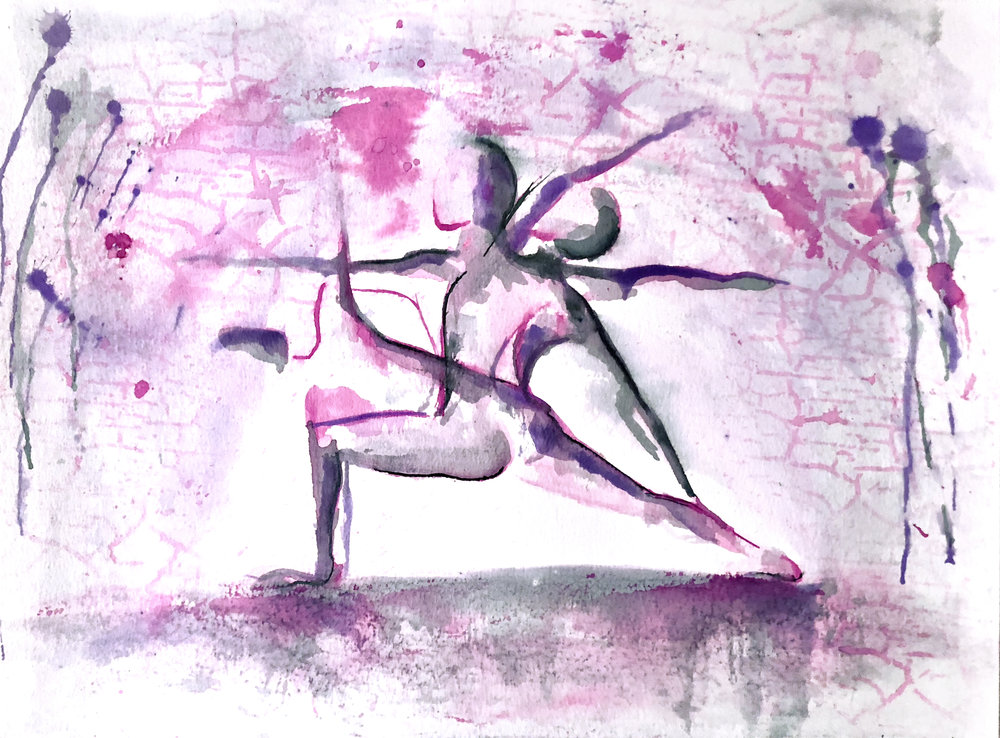 Watercolor on paper, painted with palette knives, yoga poses painted here are side angle, warrior 2, and reverse warrior.