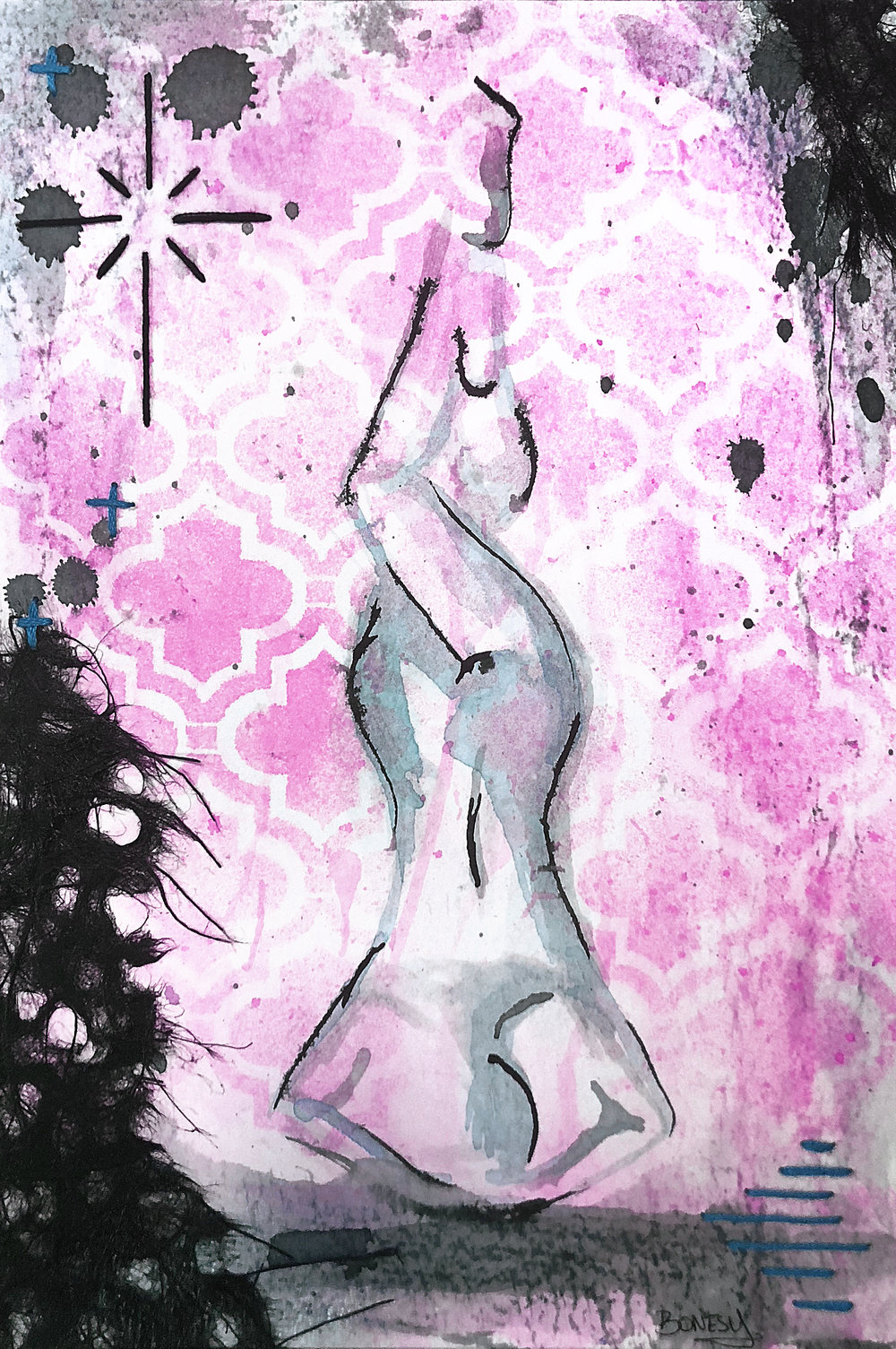 Watercolor on paper, painted with palette knives, yoga pose pincha mayurasana, or forearm stand.