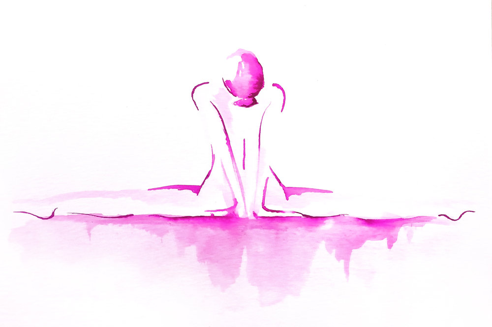 Watercolor on paper, painted with palette knives, yoga pose hanumanasana or splits pose.
