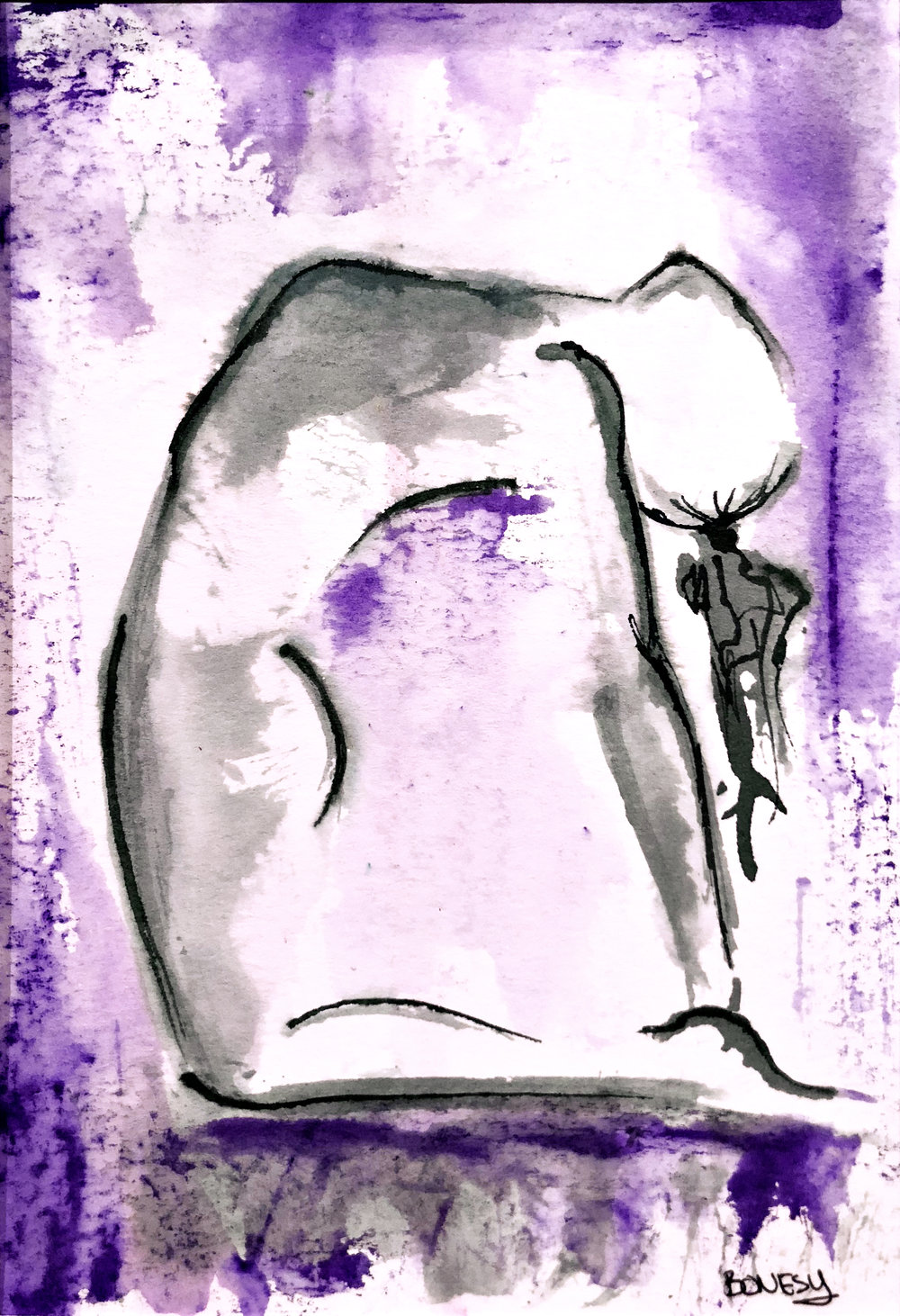 Watercolor on paper, painted with palette knives, yoga pose ustrasana, or camel pose.