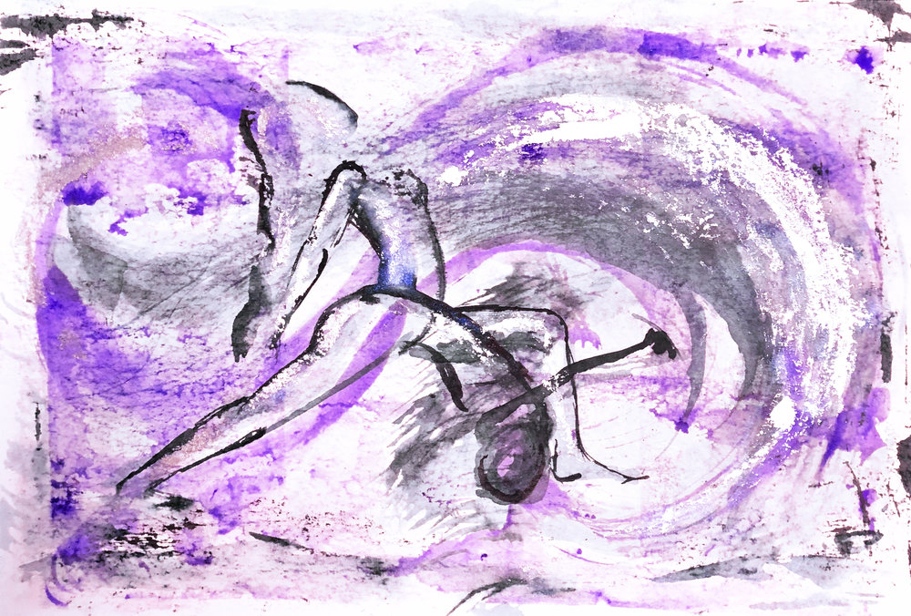 Watercolor on paper, painted with palette knives, yoga pose devotional warrior or humble warrior.