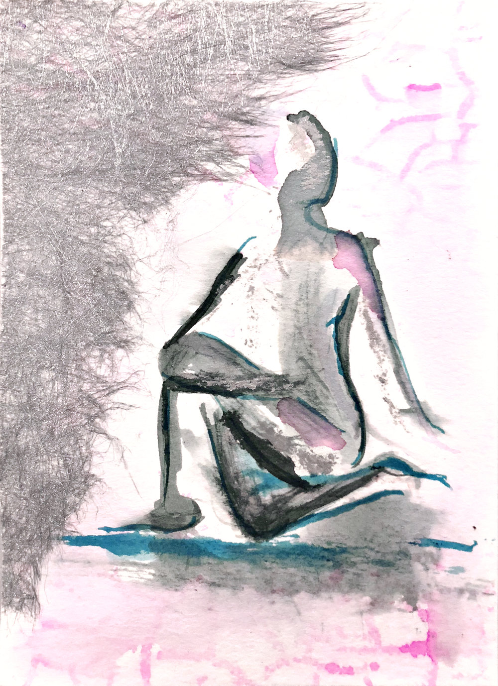 Watercolor on paper, painted with palette knives, yoga pose seated twist.