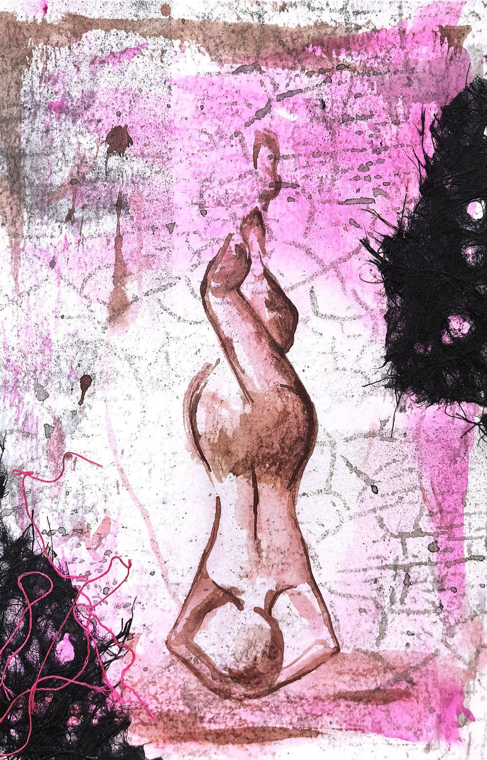 Watercolor on paper, painted with palette knives, yoga pose pincha mayurasana or forearm stand.