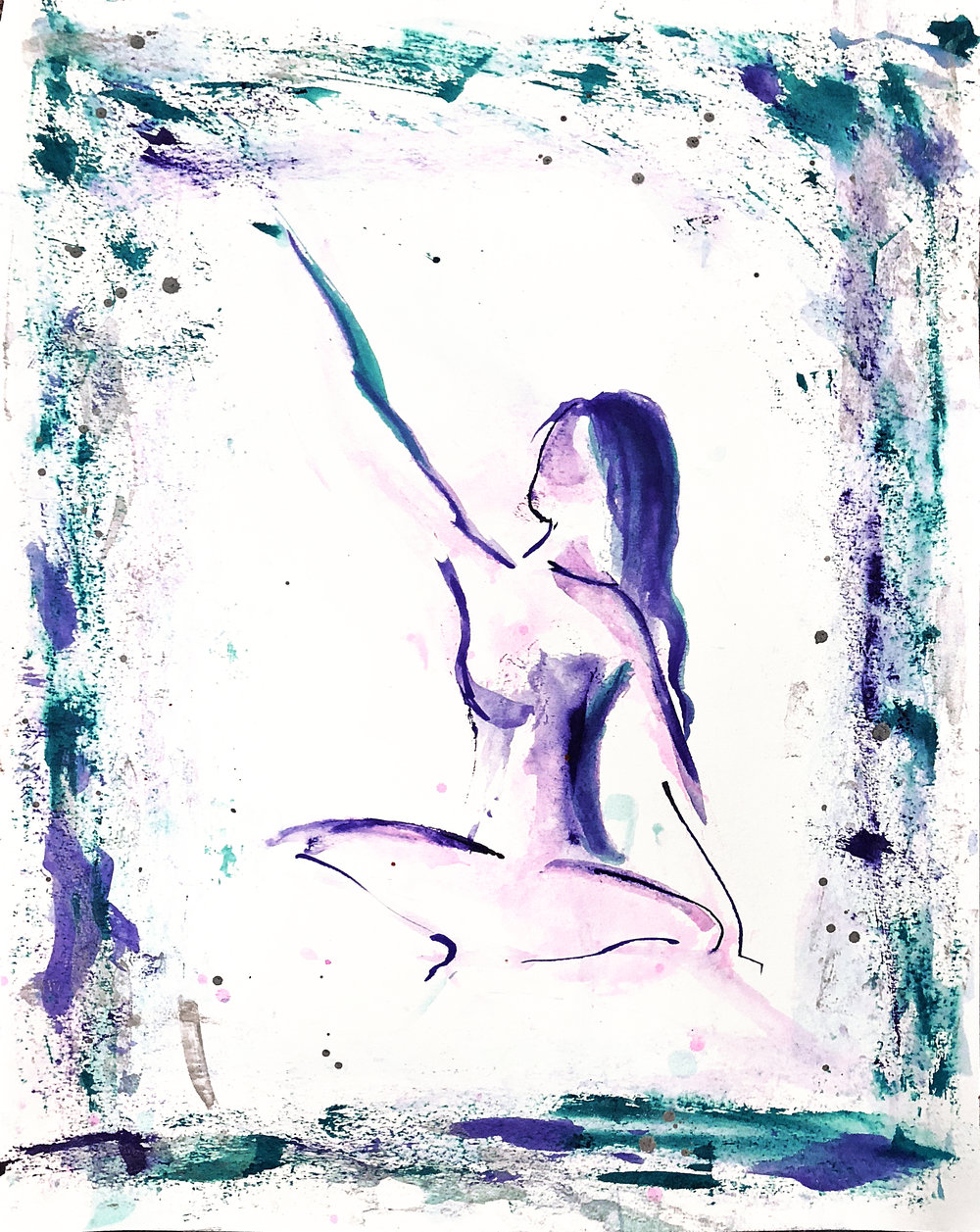 Watercolor on paper, painted with palette knives, yoga pose baddakonasana.