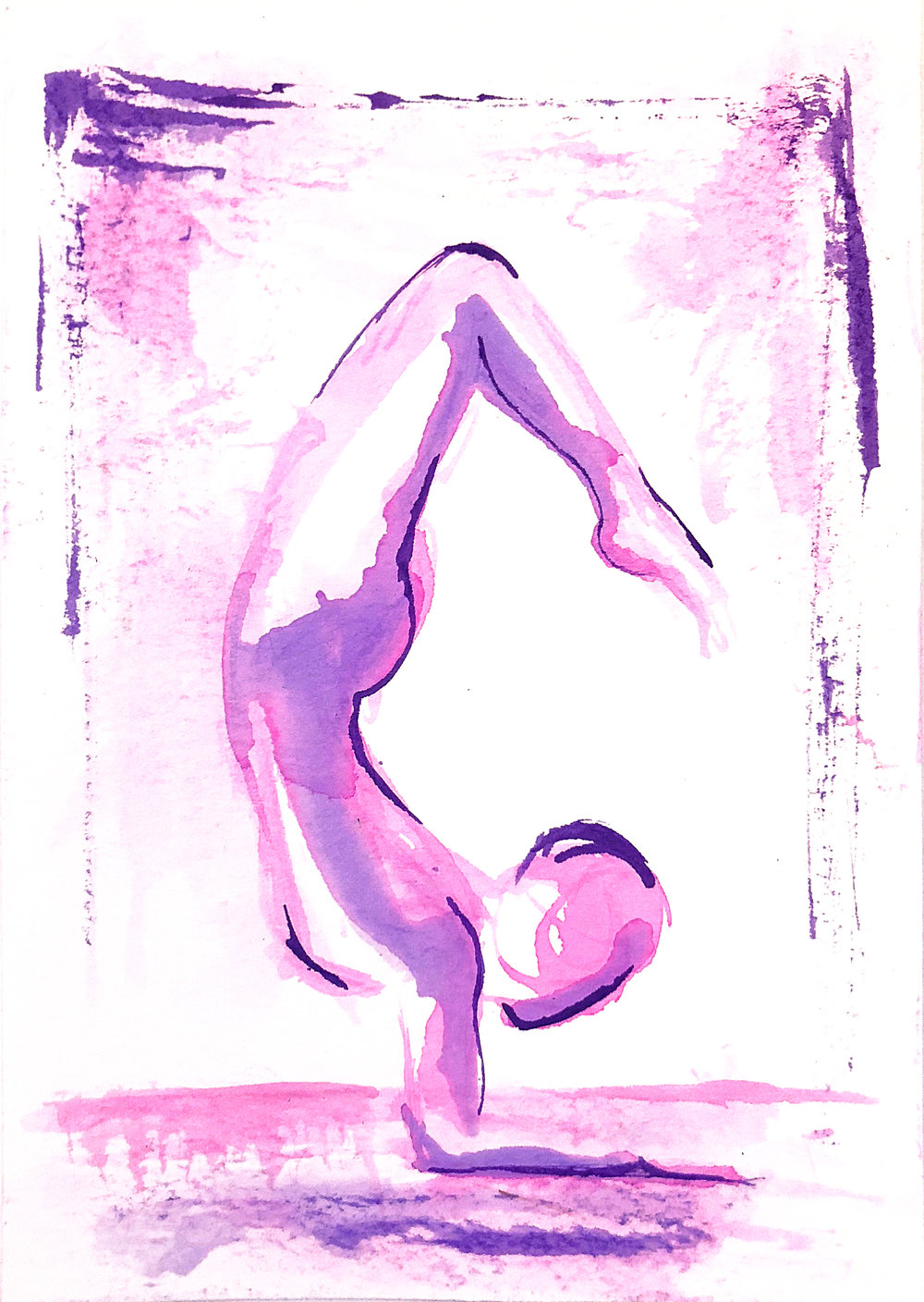 Watercolor on paper, painted with palette knives, yoga pose scorpion pose or vrishchikasana.