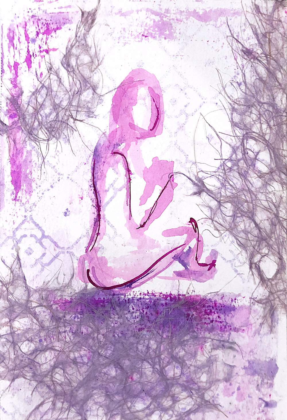 Watercolor on paper, painted with palette knives, yoga pose sukhasana.