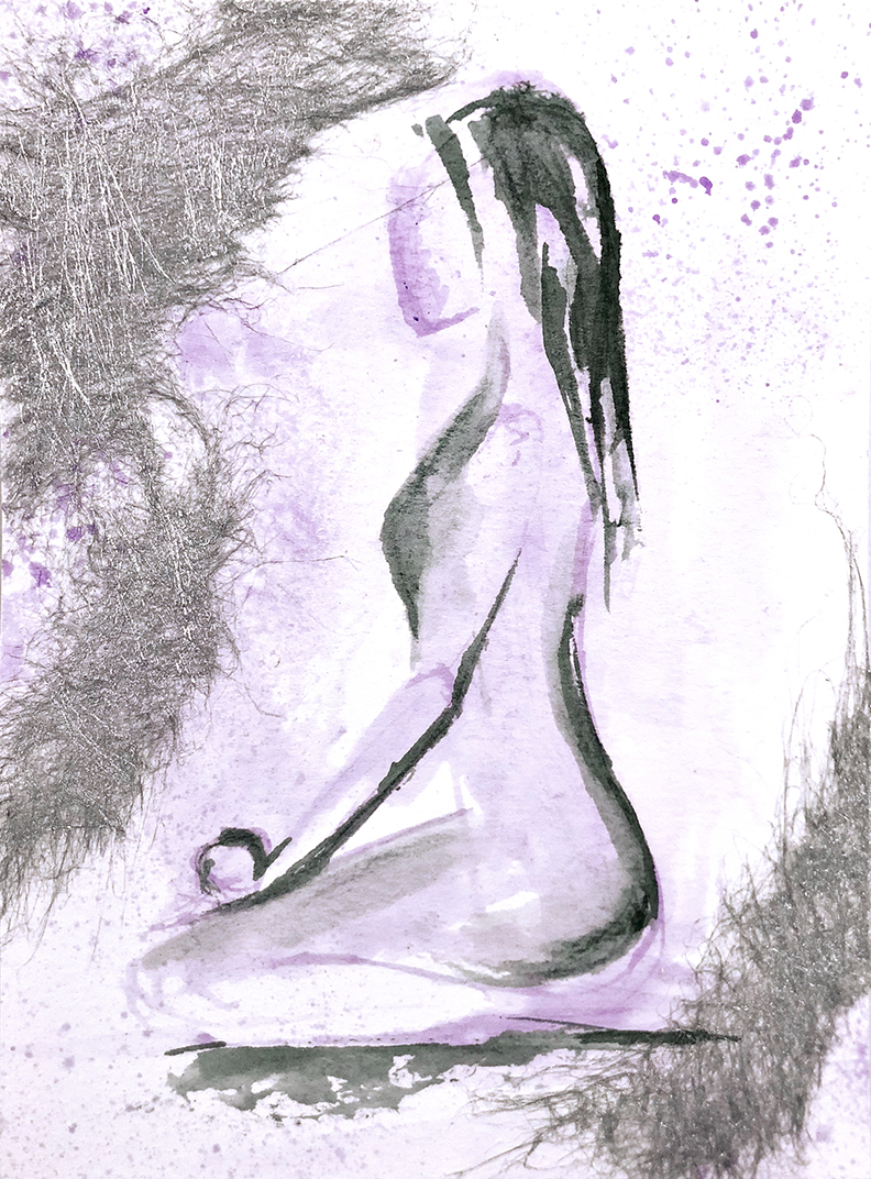 Watercolor on paper, painted with palette knives, yoga pose virasana or hero pose.