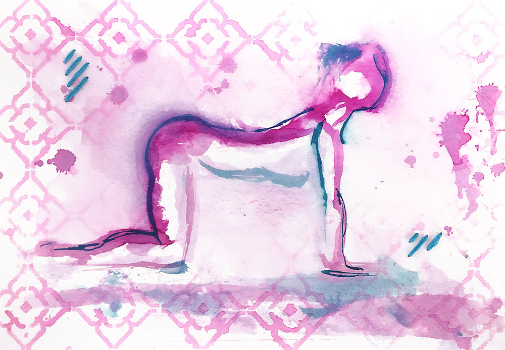 Watercolor on paper, painted with palette knives, yoga pose cow pose or bitilasana.