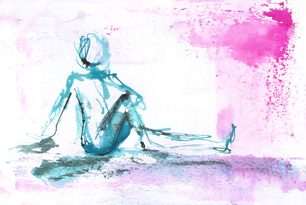 Watercolor on paper, painted with palette knives, yoga pose seated spinal twist.