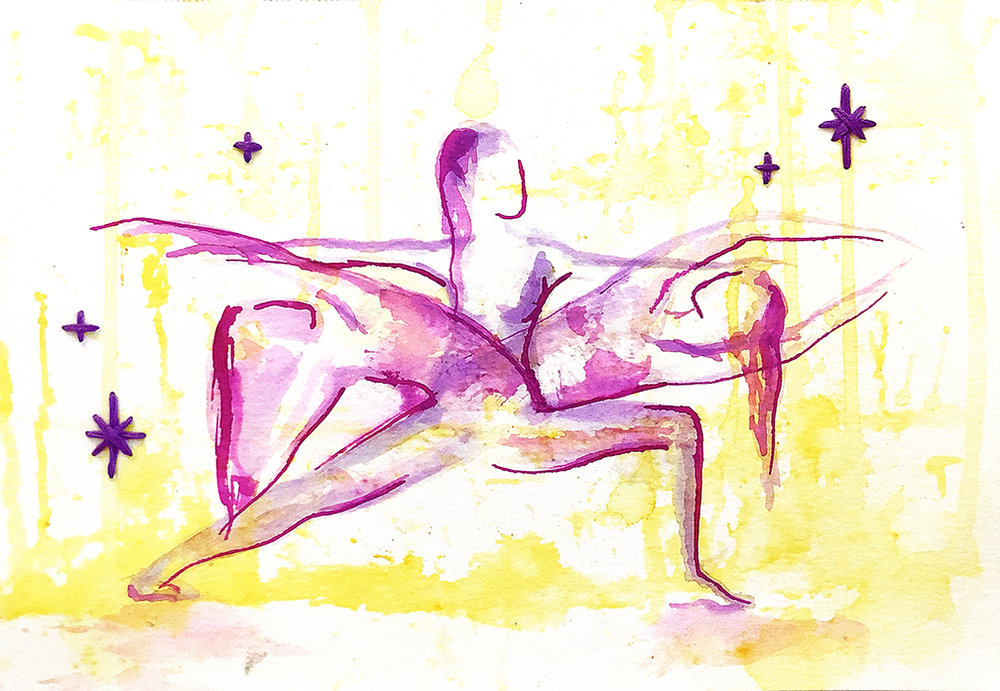 Watercolor on paper, painted with palette knives, yoga poses warrior 2, reverse warrior, and fierce warrior.