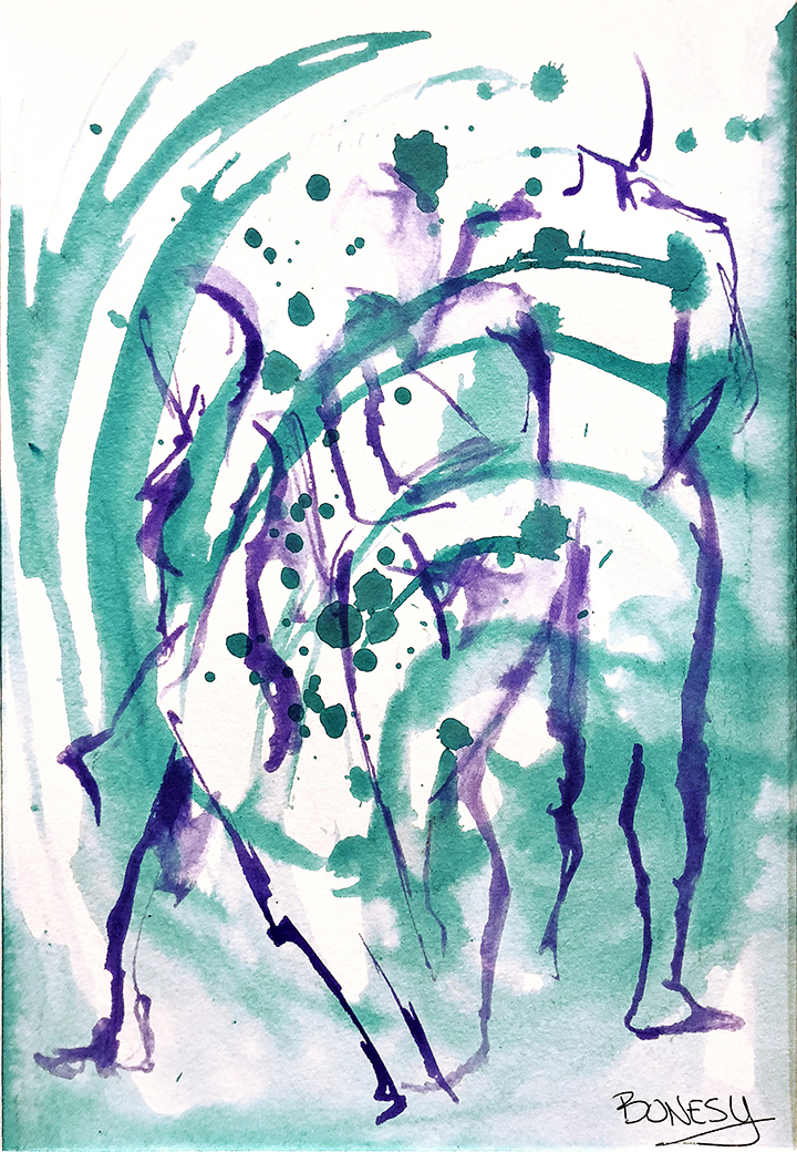 Watercolor on paper, painted with palette knives, gesture figure paintings.