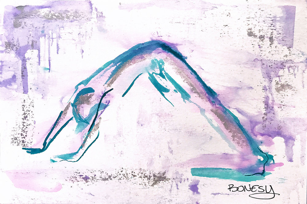 Watercolor on paper, painted with palette knives, yoga pose adho mukha svanasana or downward facing dog.
