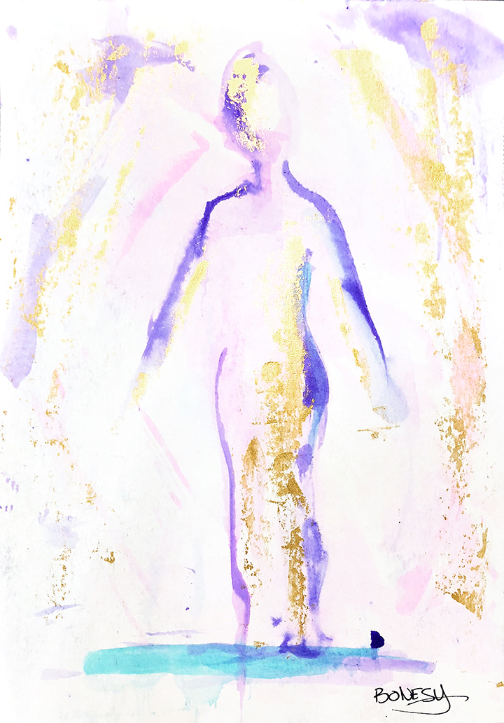 Watercolor on paper, painted with palette knives, yoga pose tadasana or mountain pose.