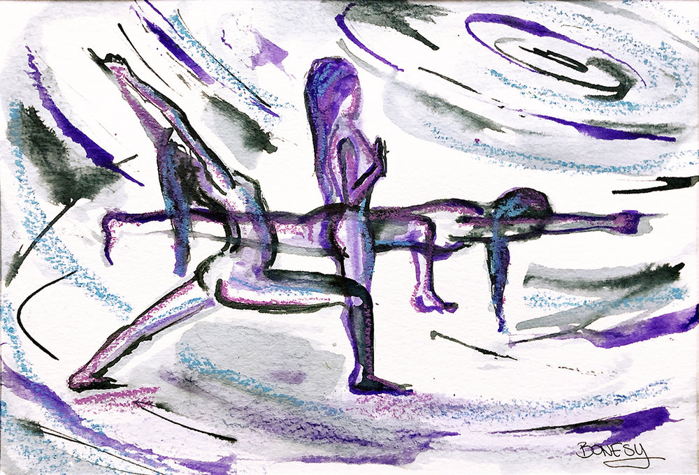 Watercolor on paper, painted with palette knives, yoga pose warrior 1 or virabhadrasana 1 and tadasana or mountain pose, and warrior 3 or virabhadrasana 3.