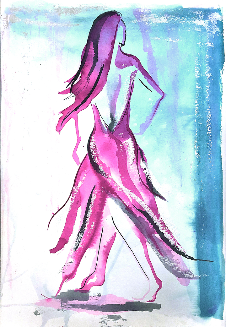 Watercolor on paper, painted with palette knives, female figure walking.