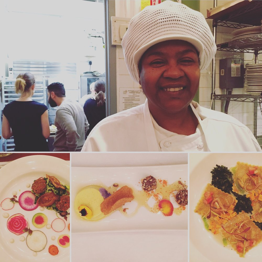 Serena Spruill, cooking for her graduation dinner at the Natural Gourmet Cooking School, NYC