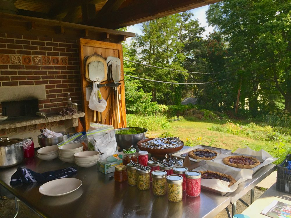 The outdoor kitchen at the Yale Farm.  This picture is from  a  special meal I cooked for Columbian Chef Jorge Rauch in the fall of 2016 .