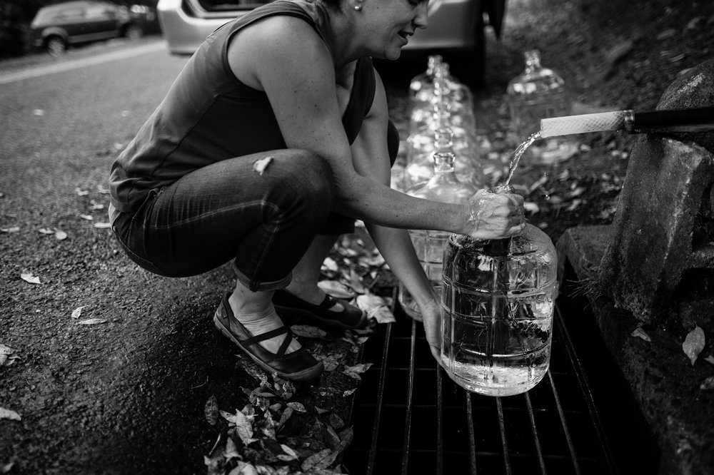 Julianne Kaphar collecting 33 gallons of water for her family at a natural spring in Harwinton, Connecticut. Photo credit:  Rachel Liu