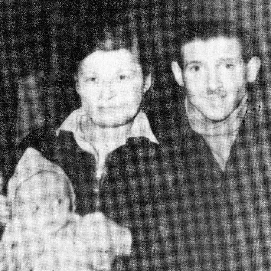 Selma (Saartje) Wijnberg Engel and Chaim Engel the grandparents of host Tagan Engel, with their baby Emilje (Angel) who died at sea shortly after this photo was taken. Photo from early 1944 in the year after their escape from the Nazi death camp Sobibor.