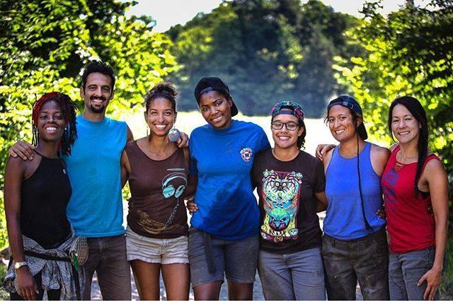 The 2018 Soul Fire Farm Crew. From left: Amani Olugbala, Jonah Vitale-Wolff, Leah Penniman, Olive Watkins, Lytisha Wyatt, Damaris Miller, and Larisa Jacobson.
