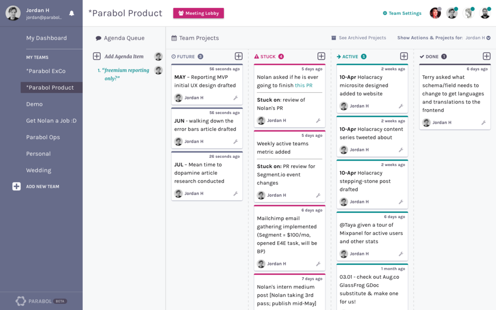 Powerful team and project dashboard
