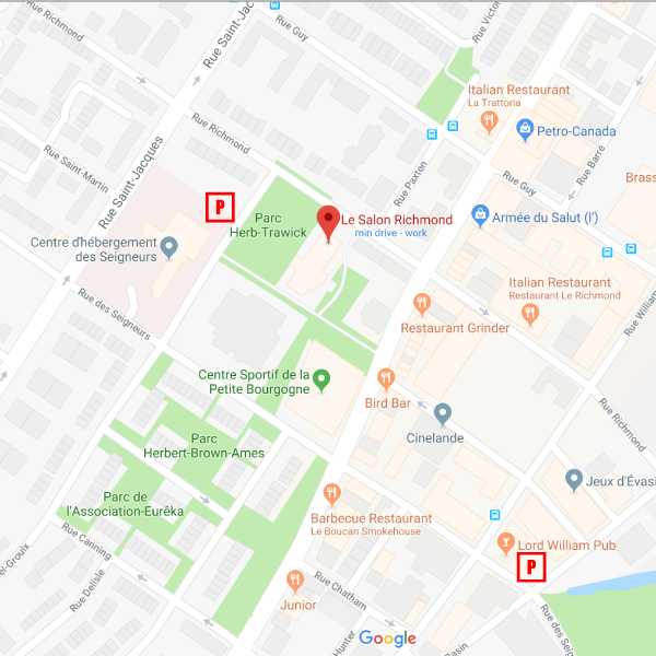 The first pay parking is on Lionel-Groulx ave. Between Richmond street and Des Seigneur street.  The second one is at the crossroad of Basin street and Des Seigneur street.
