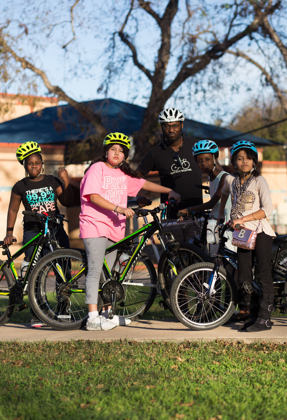 Girmawi James works with the Ghisallo Foundation, teaching inner-city youth how to safely ride bikes around the city of Austin. He thinks the city needs to improve cycling education for cyclists and drivers so that both residents and tourists can get around safely on bikes. Metz Elementary School, November 28, 2016.