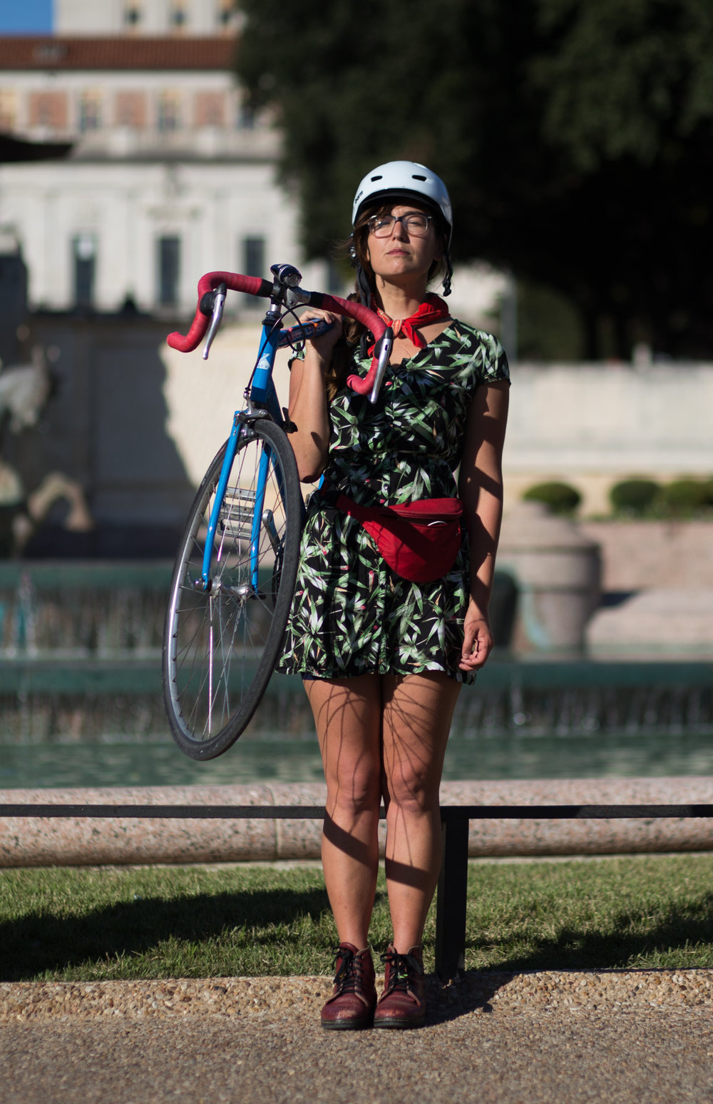 Amanda Vaughn is a graduate student at UT who has been bike commuting to campus for several years. She said her commute involves roads that are poorly maintained and that she often has to change her routes due to new construction around town. UT Austin Campus, November 16, 2016.
