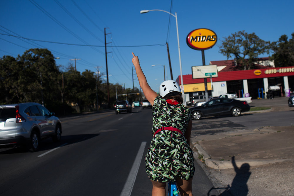 Amanda said that despite there being new bike lanes on parts of her commute, drivers are still not cautious about cyclists and that a girl was run over by a truck while biking on her bike route home. Austin, TX, November 26, 2016.