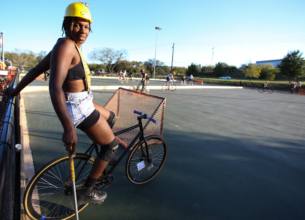 The Austin Bike Polo Social Club is known for their fierce players and even fiercer parties. Most players are cycling enthusiasts who bike commute and work as pedicab drivers or bike couriers. Players from around the country descended upon Austin for the ATXBPSC Halloween tournament. Bartholomew District Park, October 29, 2016.