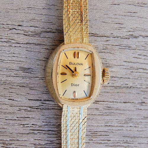 cdacf83cf Vintage Bulova Gold Womens Watch with Paver Band