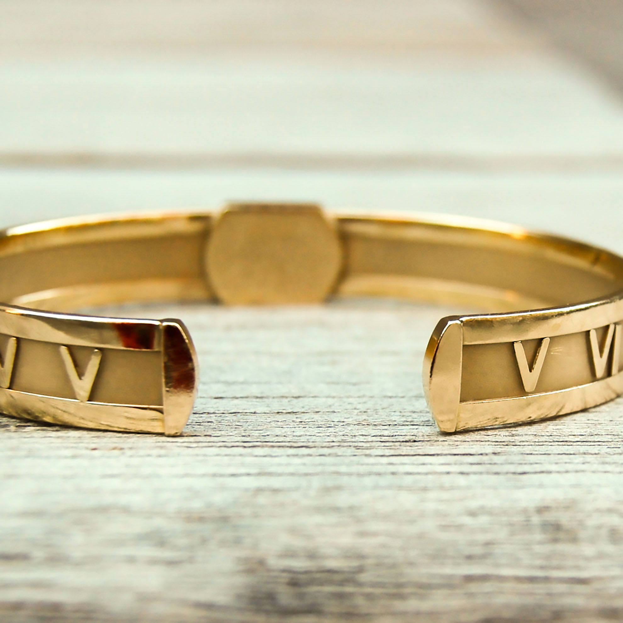 c3ca10485 SOLD ~ Vintage Gold Tiffany-Inspired Roman Numeral Cuff with Matching Ring