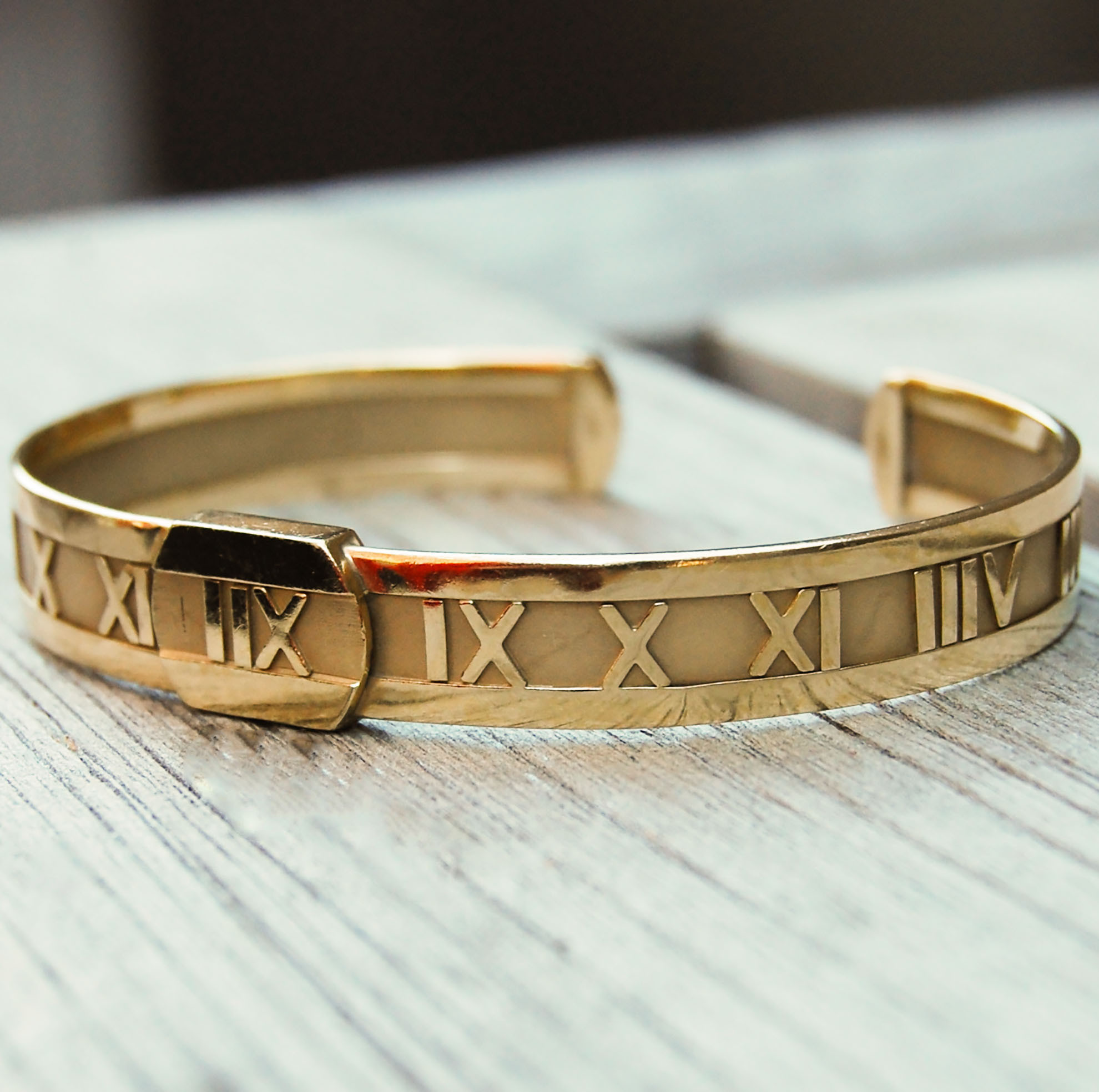 e4676aa25 SOLD ~ Vintage Gold Tiffany-Inspired Roman Numeral Cuff with Matching Ring.  Vintage Jewelry, Vintage Bracelets, Restored Gold and Silver Bracelets, ...