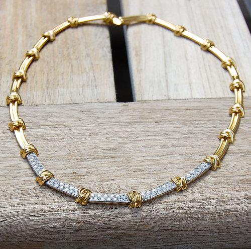 c3d3af438 Vintage Tiffany 18k Gold Knot Necklace with Diamonds ...