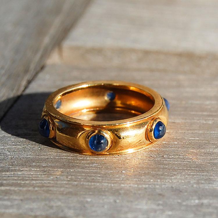 4d23c2992 Vintage 18k Tiffany Blue Sapphire Cabochons Eternity Band Ring — Gold West  Vintage