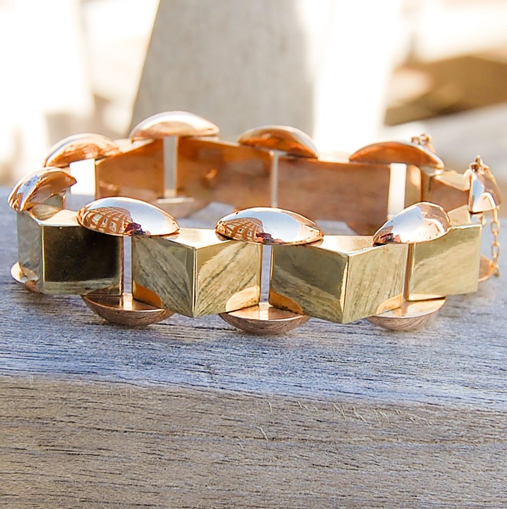 Vintage Rose and Yellow Gold Geometric Bracelet