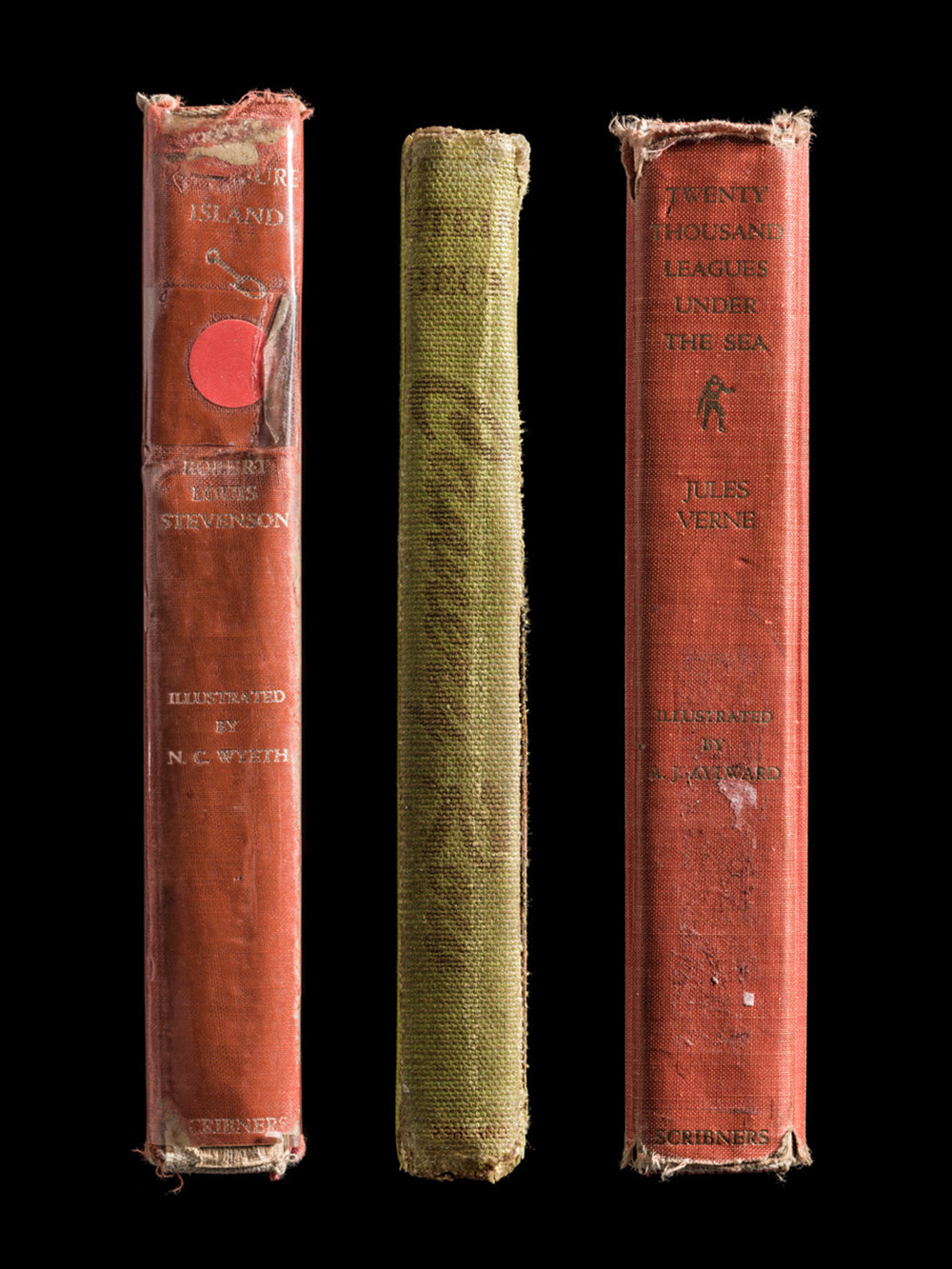 Treasure Island, Cannery Row, Twenty Thousand Leagues Under the Sea, Spines