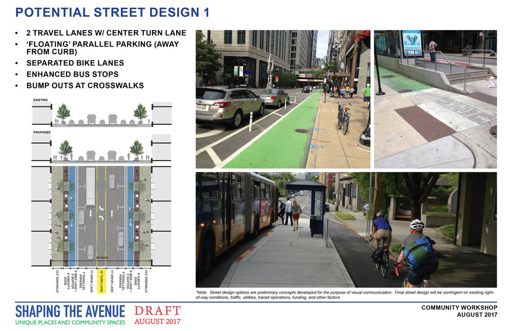 Potential street design with 2 lanes of traffic, a turn lane, a bike lane, street trees, and on street parking