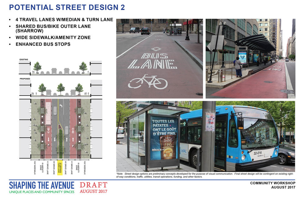 Potential street design with 2 lanes of traffic, a turn lane with a grassy median, and a shared bike/bus lane, and street trees