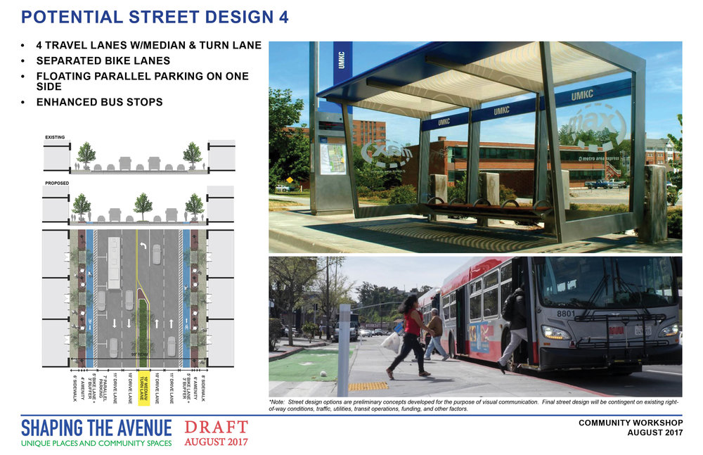 Potential street design with 4 lanes of traffic, a turn lane with a grassy median, a bike lane, and street trees